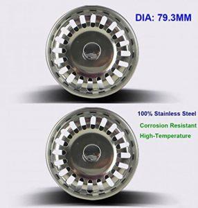 2 unités Filtre à évier / bouchon de bonde pour évier, en acier inoxydable, diamètre de 79.3 mm, Épais de la marque QRITY image 0 produit
