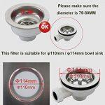 2 unités Filtre à évier / bouchon de bonde pour évier, en acier inoxydable, diamètre de 79.3 mm, Épais de la marque QRITY image 2 produit