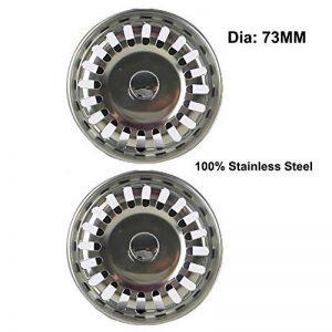 2x Filtre à évier / bouchon de bonde pour évier, en acier inoxydable, diamètre de 73mm de la marque Qrity image 0 produit