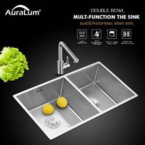 AuraLum évier cuisine 2 bacs 80 x 45cm évier sous plan avec Siphon en Inox Brossé Lavabo à Main pour Cuisine de la marque AuraLum image 0 produit