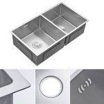 AuraLum évier cuisine 2 bacs 80 x 45cm évier sous plan avec Siphon en Inox Brossé Lavabo à Main pour Cuisine de la marque AuraLum image 2 produit