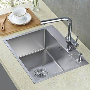 Auralum évier de cuisine carré 45 x 55cm 1 Évier + 2 trou + Trop-plein et Siphon Cuisine lavabo évier inox 1 bac de la marque AuraLum image 0 produit
