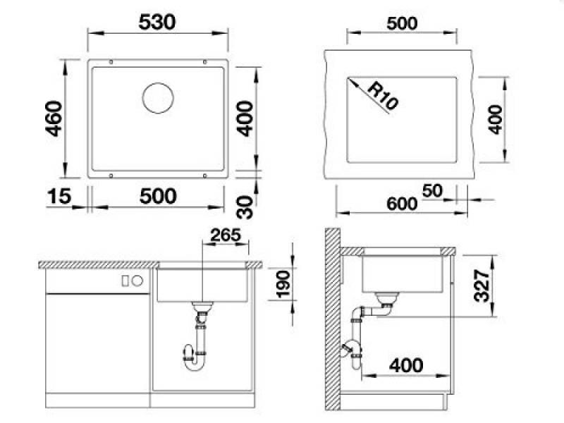 Silgranit Enos 40S Alu /Évier AL // EV 1 Cuve 513800 Blanco