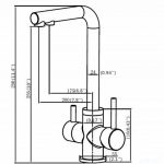 Crea 3 voies Robinets de cuisine, eau potable, eau chaude et froide 2 Poignée Bec pivotant filtre à eau Nickel brossé évier de cuisine robinet mitigeur robinet de la marque Crea image 2 produit