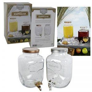 Distributeur de jus 4 L en verre avec robinet distributeur d'eau distributeur de boisson Yorkshire avec robinet et couvercle en plastique couleur bronze ou argent Deckel in bronze-farben de la marque MT image 0 produit