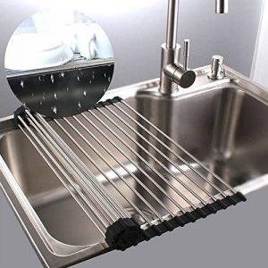 Egouttoir grille séchage à vaisselle en inox pliable au dessus d'évier pour légumes et fruits (Grand) de la marque JunYito image 0 produit