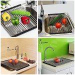 Egouttoir grille séchage à vaisselle en inox pliable au dessus d'évier pour légumes et fruits (Grand) de la marque JunYito image 3 produit