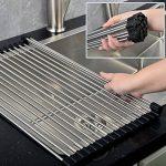 Egouttoir grille séchage à vaisselle en inox pliable au dessus d'évier pour légumes et fruits (Grand) de la marque JunYito image 4 produit