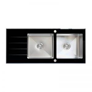ENKI Verre noir acier inoxydable évier de cuisine réversible 1.5 bac égouttoir de la marque ENKI image 0 produit