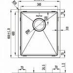 Évier/ lavabo Mizzo Linea 34-40 - évier de cuisine acier inoxydable - 1 bac - lavabo de cuisine carré - montage à fleur ou sous plan - inox brossé de la marque Mizzo Design ® image 4 produit
