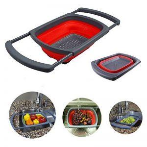 Foldable Passoire en Silicone, Xuanlan Couvre-filtre de cuisine avec poignées extensibles Économie d'espace, drainage rapide, base antidérapante, coffre-fort pour lave-vaisselle (Rectangulaire) (Rouge) de la marque Xuanlan image 0 produit