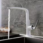 HAOXIN Mitigeur de cuisine en laiton massif Peinture haute Arc Bec orientable à 360 ° à levier unique Blanc Chrome Z3-7H3G-3YYI de la marque HAOXIN image 1 produit