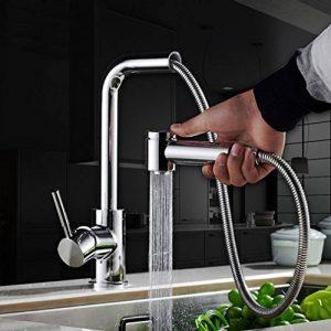 Haoxin Pull Out robinet de cuisine Laiton Bec pivotant à levier unique Pull Down Pulvérisateur robinet Chrome V33b de la marque HAOXIN image 0 produit