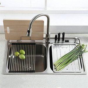Homelavafans évier inox de cuisine à un 1 bac en acier inoxydable 304 avec deux plaques de filtre à eau encastrable cuve pour cuisine (sans robinet ) de la marque HomeLava image 0 produit