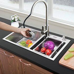 Homelavafans évier inox à deux 2 bacs en acier inoxydable 304 avec panier de vidange et distributeur de liquide vaisselle encastrable cuve pour cuisine (sans robinet ) de la marque HomeLava image 0 produit