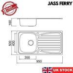Jass Ferry Evier de cuisine en inox, cuve simple, égouttoir réversible avec fixations de tuyaux de vidange de la marque JASS FERRY image 1 produit
