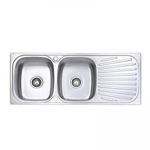 Jass Ferry- Évier de cuisine inox à encastrer style soudé, deux bacs avec égouttoir réversible, attaches pour tuyaux d'évacuation de la marque JASS FERRY image 0 produit