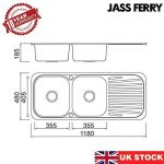 Jass Ferry- Évier de cuisine inox à encastrer style soudé, deux bacs avec égouttoir réversible, attaches pour tuyaux d'évacuation de la marque JASS FERRY image 1 produit