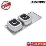 Jass Ferry- Évier de cuisine inox à encastrer style soudé, deux bacs avec égouttoir réversible, attaches pour tuyaux d'évacuation de la marque JASS FERRY image 4 produit