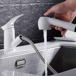 jruia extensible Robinet mitigeur cuisine avec douchette extractible bec orientable à 360° Cuisine Évier Robinet Robinet mitigeur robinet de l'évier en laiton, blanc de la marque JRUIA image 4 produit