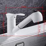 jruia extensible Robinet mitigeur cuisine avec douchette extractible bec orientable à 360° Cuisine Évier Robinet Robinet mitigeur robinet de l'évier en laiton, blanc de la marque JRUIA image 2 produit