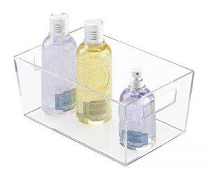 mDesign boite de rangement avec des poignées intégrées – caisse de rangement transparent avec un beau design – boite de rangement salle de bain – stockage idéal – transparent de la marque MetroDecor image 0 produit