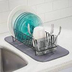 mDesign égouttoir vaisselle en inox – bac à vaisselle en plastique – étendoir pour vaisselle avec bac d'égouttement – rangement et séchage de jusqu'à 15 assiettes – 31,8 cm x 14,0 cm x 10,2 cm de la marque MetroDecor image 1 produit