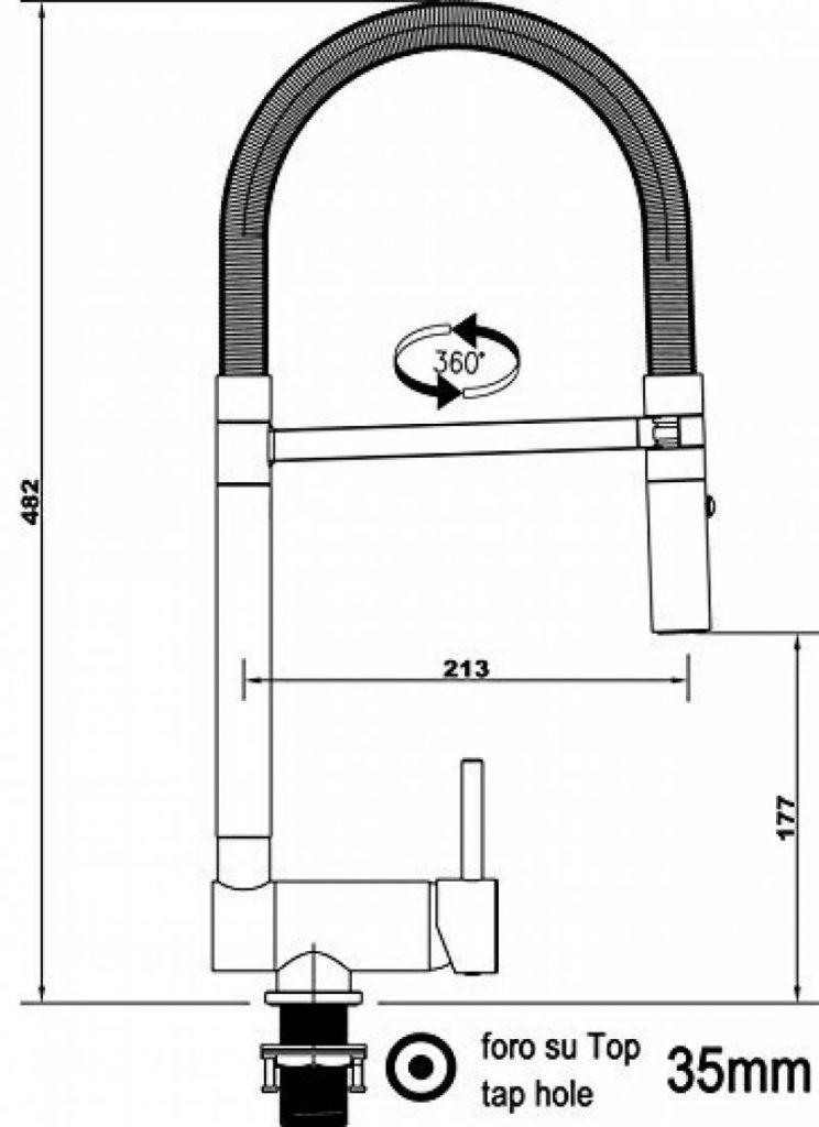 c2392a2e67f23 Mélangeur évier robinet cuisine rabattable 6cm bec ORANGE orientable  pivotant et douchette 2 jets   robinet sous fenêtre    Chromé   Orange de  la marque ...