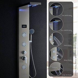 OBEEONR Colonne de Douche LED en Acier Inoxydable 304 Panneau de Douche avec douche à main Multi-fonctionnel l'eau de sortir [Classe énergétique A++] de la marque OBEEONR image 0 produit