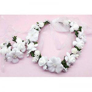 OKBO Femmes Filles Serre tête accessoire bandeau cheveux mariage floral tête garland plage couronne de fleurs Blanco de la marque OKBO Coiffes image 0 produit