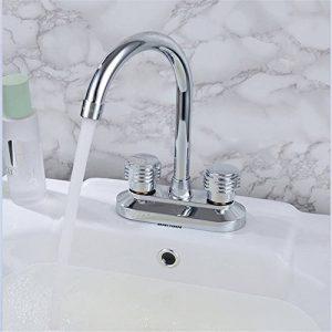 RACHELER L'eau chaude et froide avec évier de vanité de salle de bains double robinet d'eau deux trous mitigeur raccords en cuivre plein épais de la marque RACHELER image 0 produit
