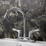 RACHELER L'eau chaude et froide avec évier de vanité de salle de bains double robinet d'eau deux trous mitigeur raccords en cuivre plein épais de la marque RACHELER image 1 produit