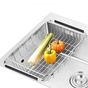 SANN Drain de lave-vaisselle réglable Support de la cuvette sur l'évier Purificateur de fruits et d'ustensiles de cuisine Filtre de cuisine fonctionnel Fil de séchage du fil d'acier inoxydable de la marque SANNO image 0 produit