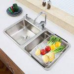 SANN Drain de lave-vaisselle réglable Support de la cuvette sur l'évier Purificateur de fruits et d'ustensiles de cuisine Filtre de cuisine fonctionnel Fil de séchage du fil d'acier inoxydable de la marque SANNO image 4 produit
