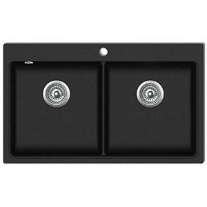 vidaXL Évier de cuisine encastrable à 2 bacs en granite noir de la marque vidaXL image 0 produit